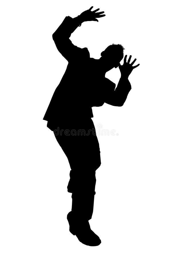 Homem de negócio Cowering da silhueta com trajeto de grampeamento ilustração do vetor