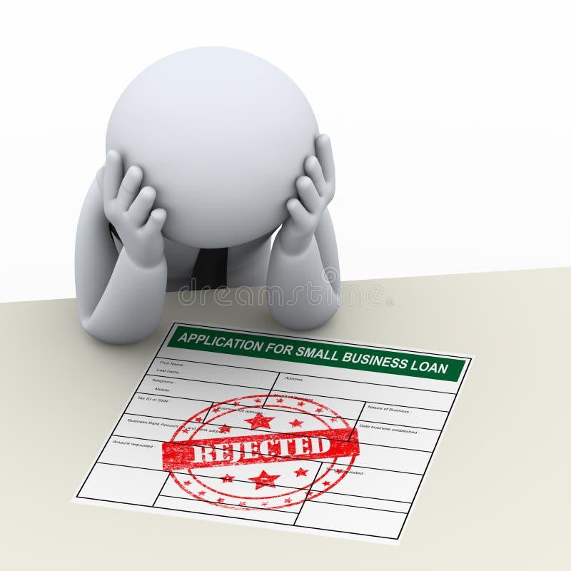 homem de negócio 3d virado após a rejeção do pedido de empréstimo ilustração stock