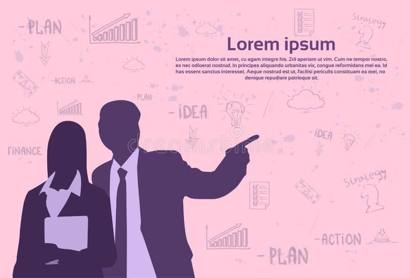 Homem de negócio da silhueta e mulher sobre ícones abstratos do esboço no fundo cor-de-rosa com espaço da cópia, homem de negócio ilustração stock