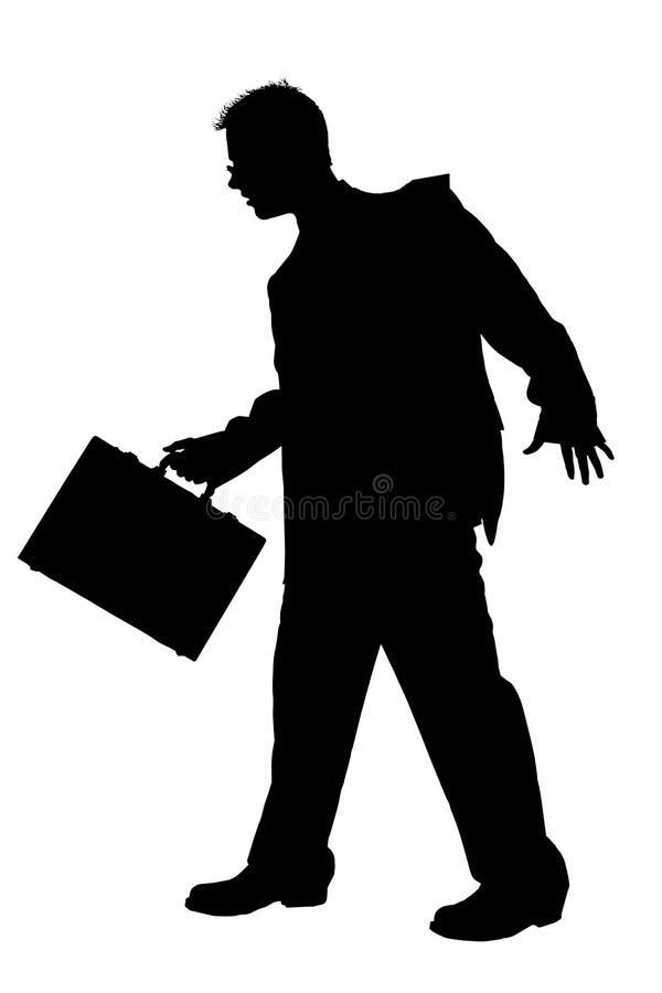 Homem de negócio da silhueta que anda com a pasta com pancadinha do grampeamento ilustração stock