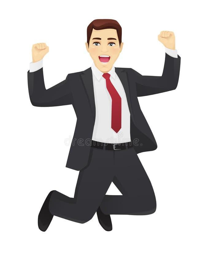 Homem de negócio de salto ilustração stock