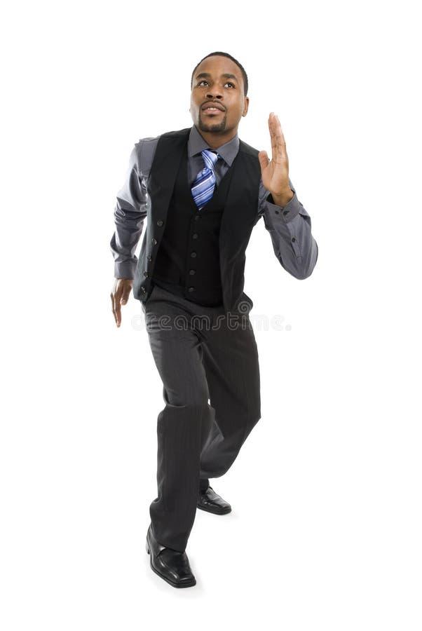 Homem de negócio do americano africano pronto para funcionar fotografia de stock
