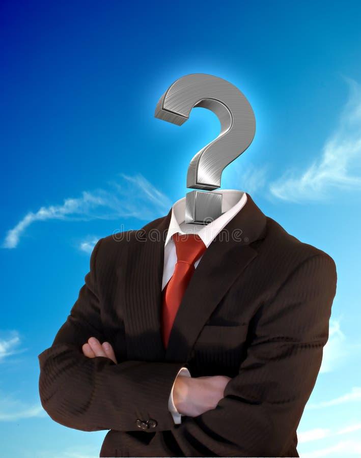 Homem de negócio do ponto de interrogação fotos de stock royalty free
