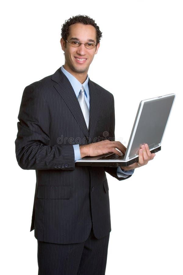 Homem de negócio do portátil imagem de stock