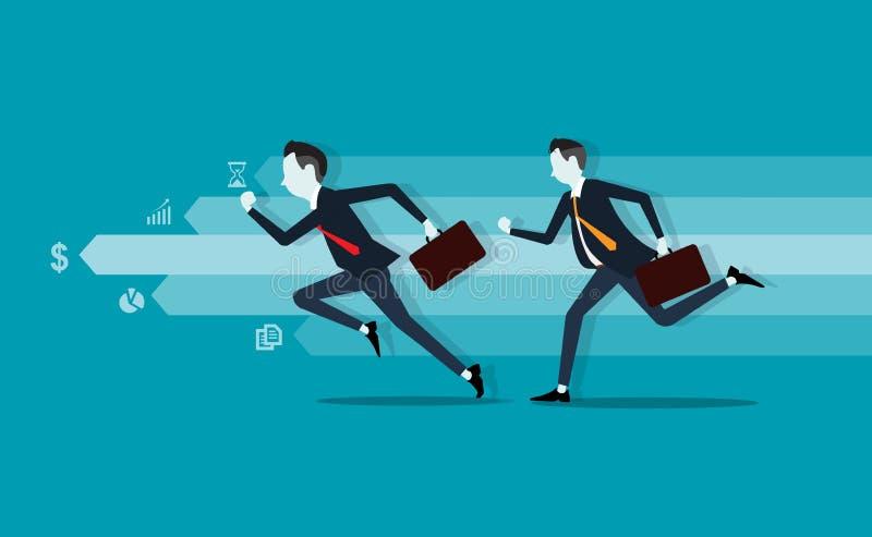 Homem de negócio dois competitive Gráfico da informação Negócio rápido Negócio Leader ilustração do vetor