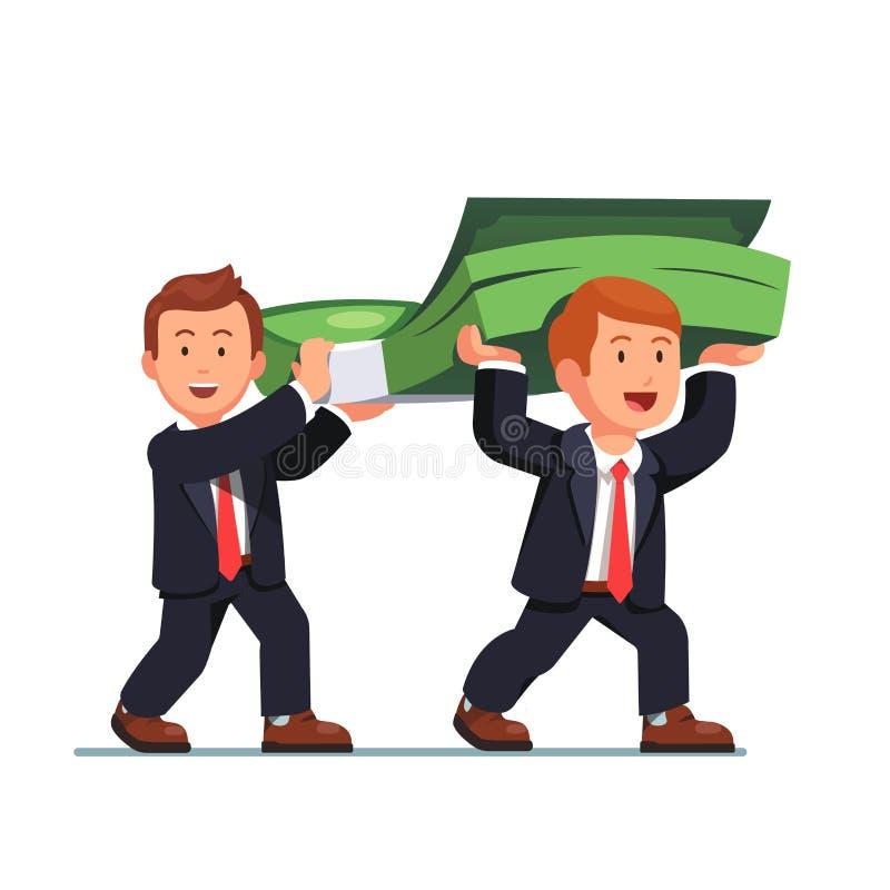 Homem de negócio dois que leva o pacote enorme do dinheiro ilustração stock