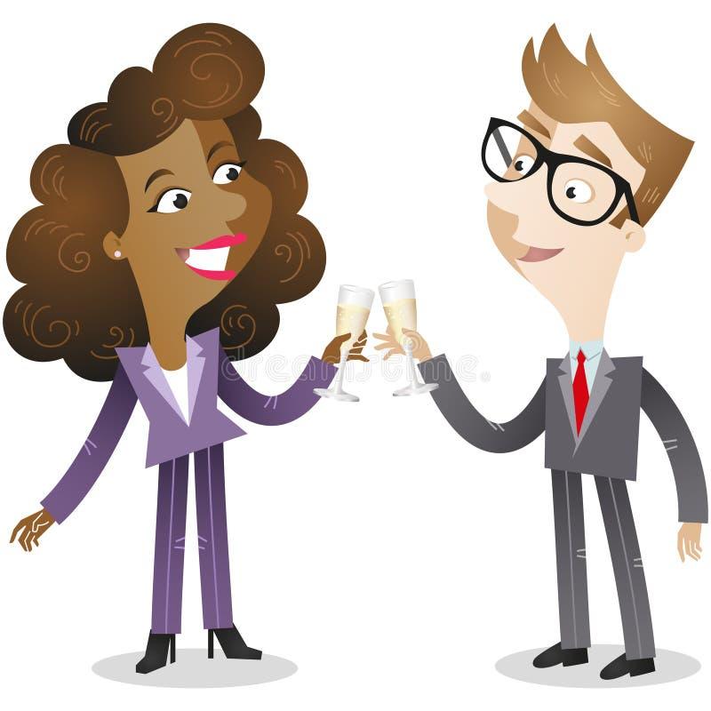Homem de negócio e champanhe bebendo da mulher ilustração royalty free