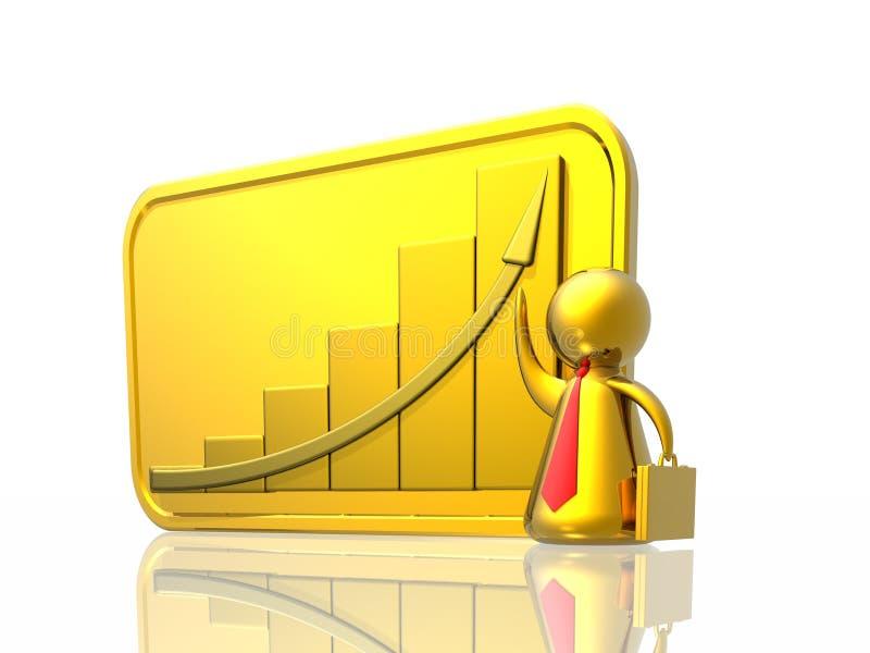 Homem de negócio e diagrama do sucesso ilustração stock