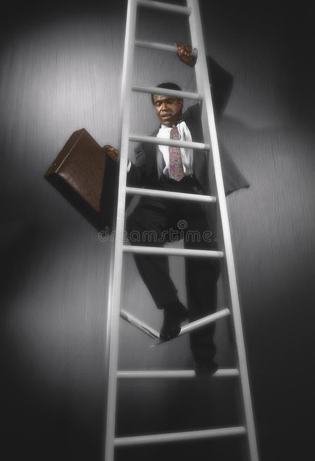 Homem de negócio em escada quebrada imagens de stock royalty free