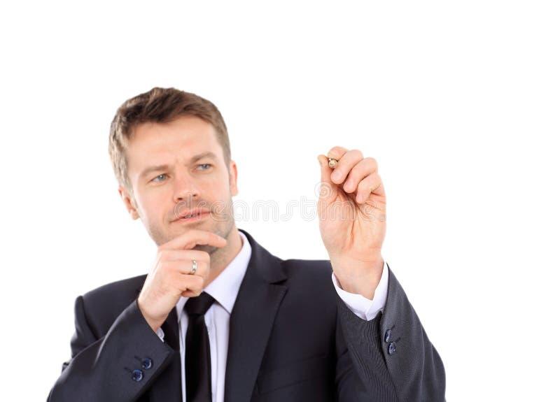 Homem de negócio esperto com a pena isolada no fundo branco fotografia de stock royalty free