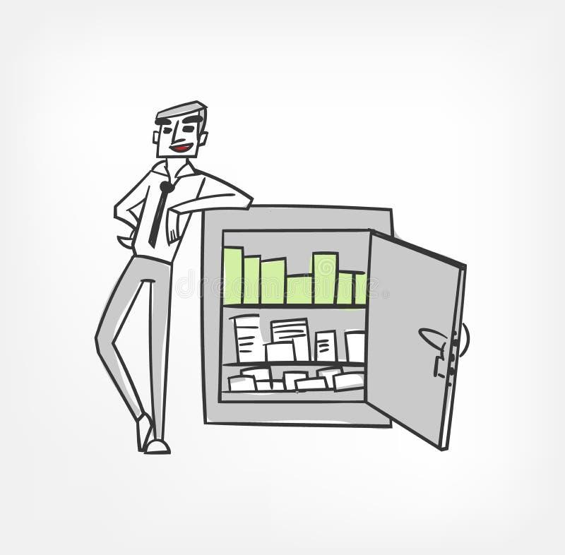Homem de negócio feliz do chatacter da ilustração do vetor do cofre-forte ilustração do vetor