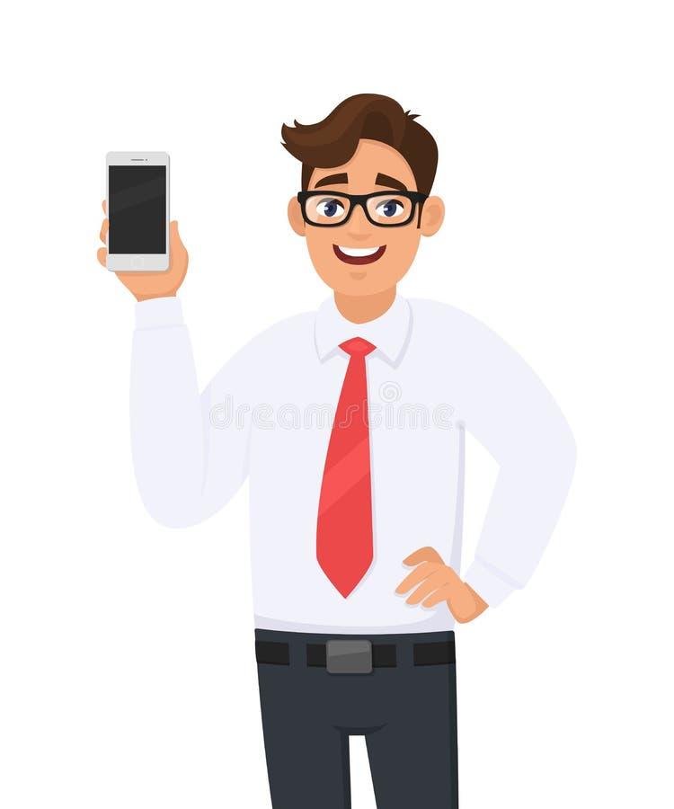Homem de negócio feliz que mostra um tipo novo, o smartphone o mais atrasado Homem novo que guarda a pilha ou o telefone celular  ilustração royalty free