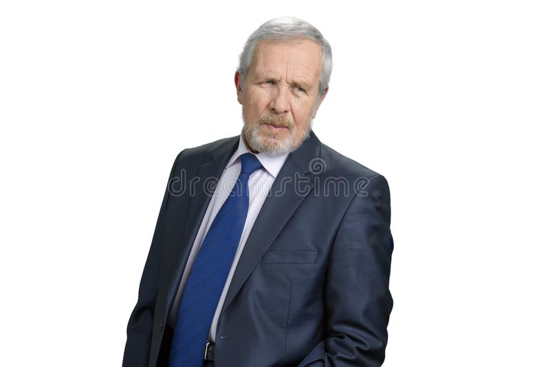 Homem de negócio idoso sério sério imagens de stock royalty free