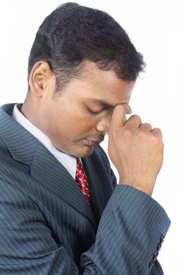 Homem de negócio indiano deprimido fotografia de stock royalty free