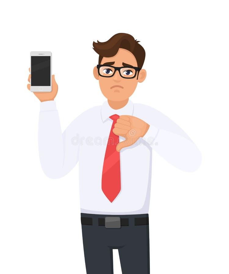 Homem de negócio infeliz que mostra o tipo novo, o smartphone o mais atrasado Pilha de terra arrendada do homem, telefone celular ilustração royalty free