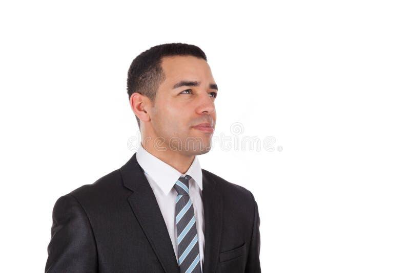 Homem de negócio latino-americano que olha isolado acima no backgr branco fotos de stock royalty free