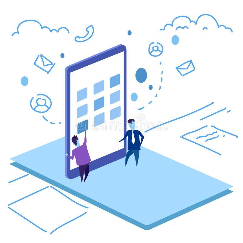 Homem de negócio móvel do conceito da aplicação do smartphone da relação da tela do toque do homem de negócios que trabalha duram ilustração royalty free