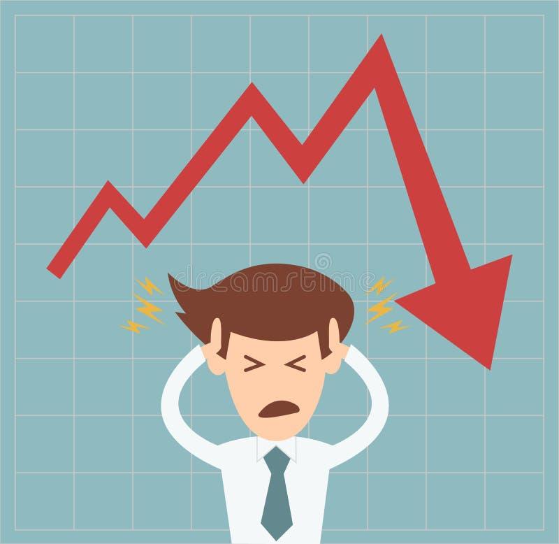 Homem de negócio na crise do gráfico que cai para baixo conceito ilustração do vetor