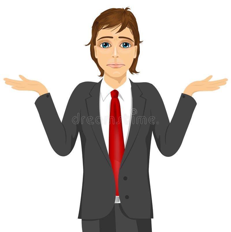 Homem de negócio na dúvida que faz a expressão da encolho de ombros ilustração do vetor