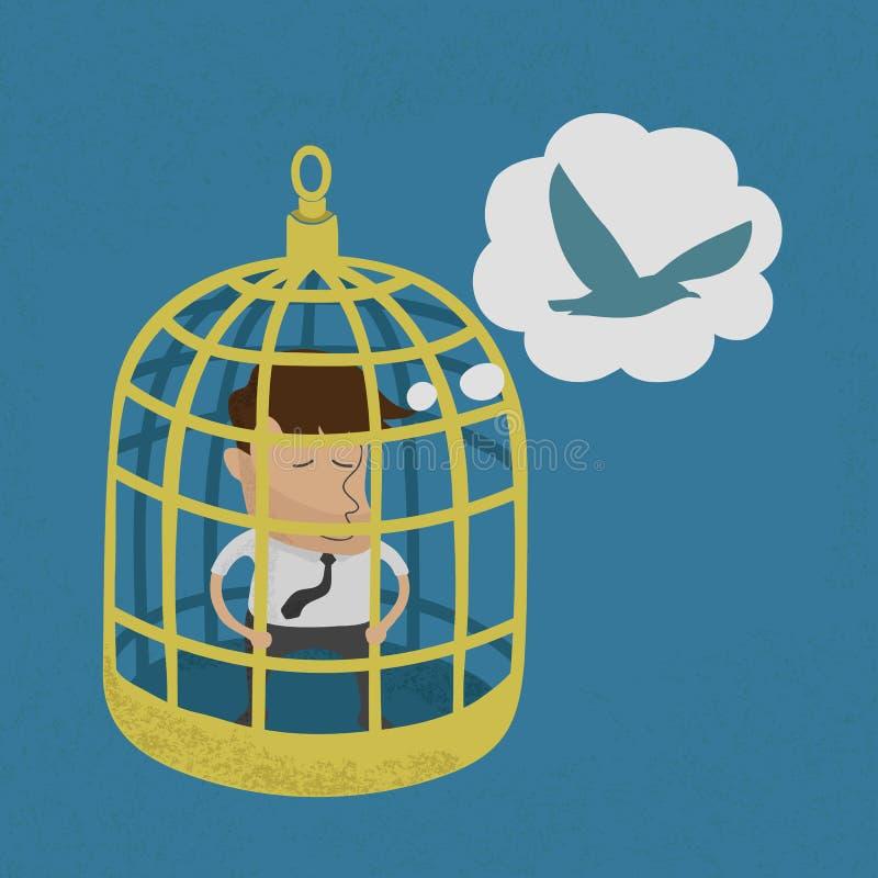 Homem de negócio na gaiola de pássaro dourada ilustração stock