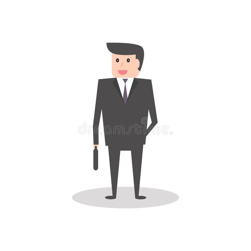 Homem de negócio na ilustração lisa do vetor do personagem de banda desenhada do estilo ilustração do vetor