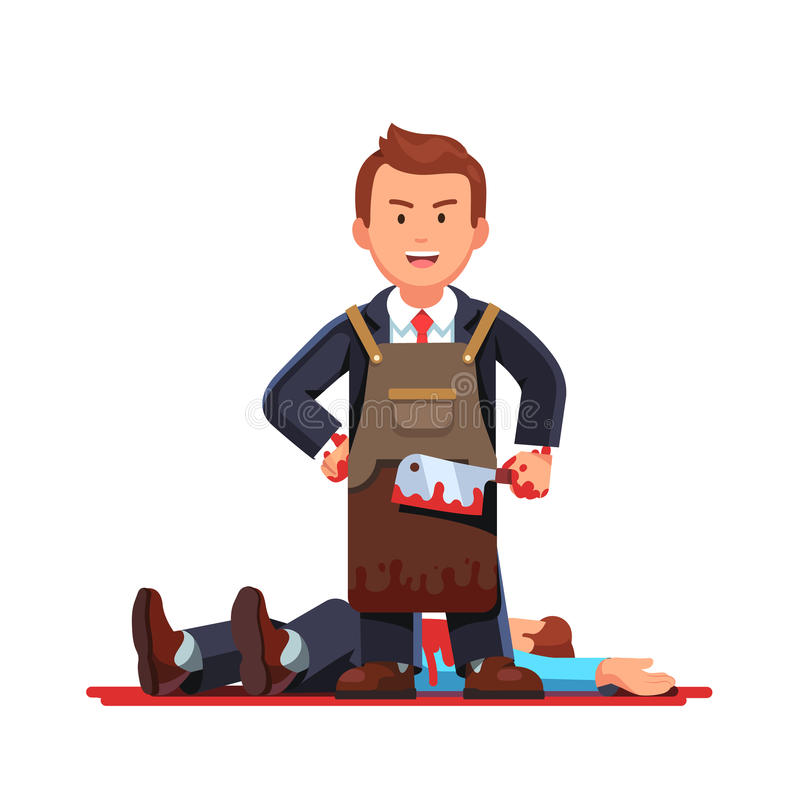 Homem de negócio no avental que guarda a faca de carniceiro ensanguentado ilustração do vetor