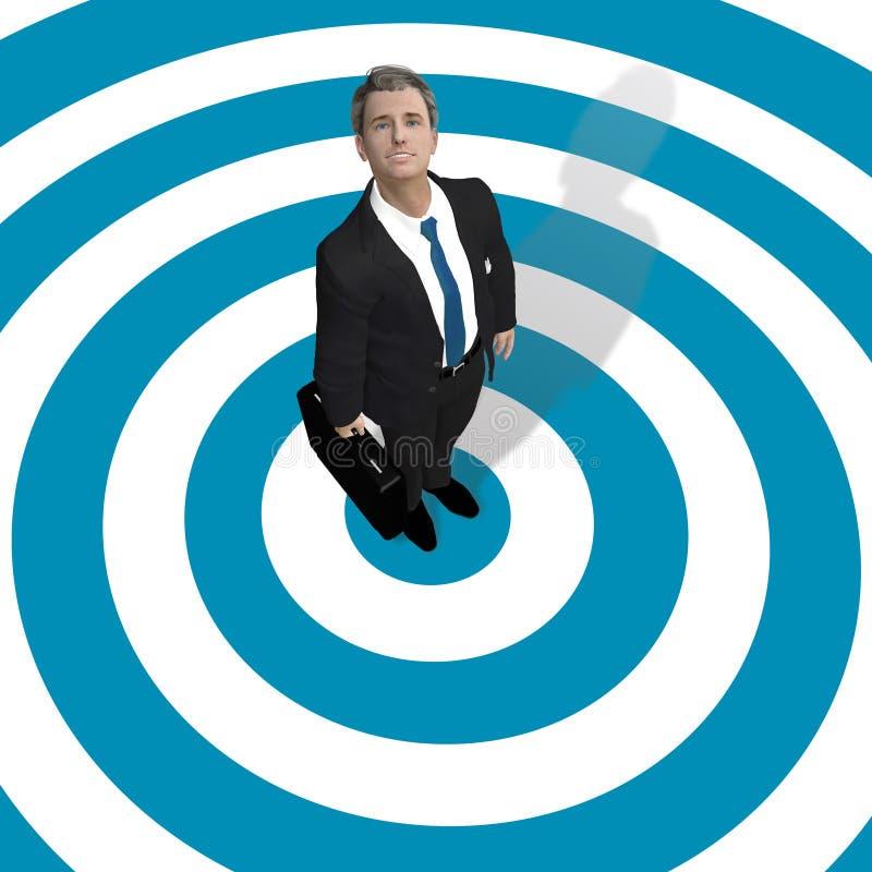 Homem de negócio no centro do alvo azul ilustração royalty free