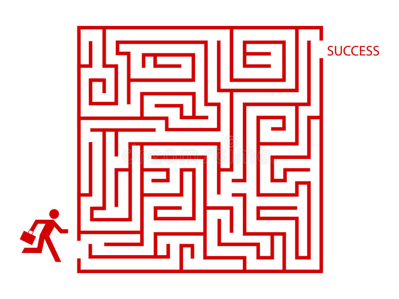 Homem de negócio no labirinto ilustração stock