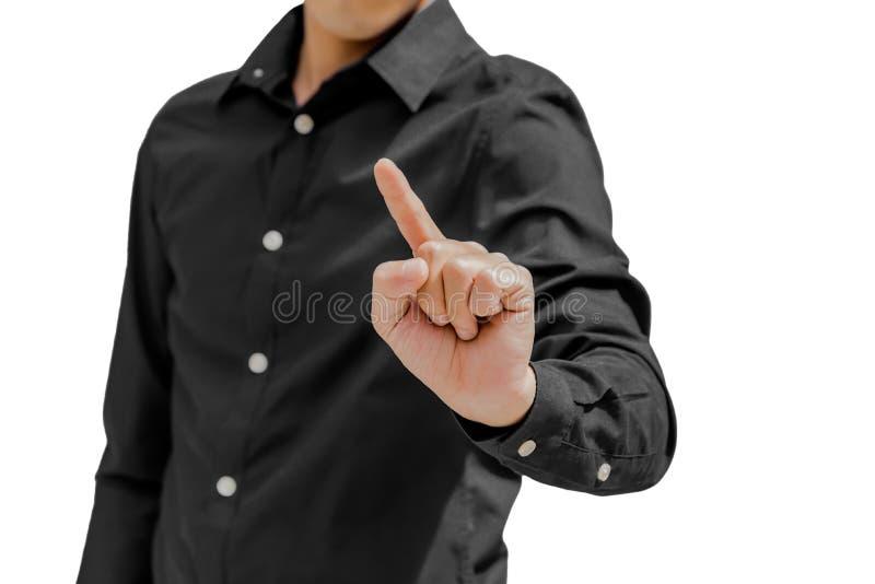 Homem de negócio no ponto preto algo com fundo do dedo mim fotografia de stock
