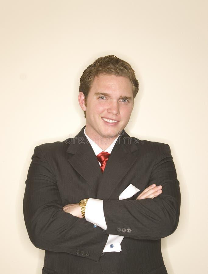 Homem de negócio no pose 10 da potência fotos de stock