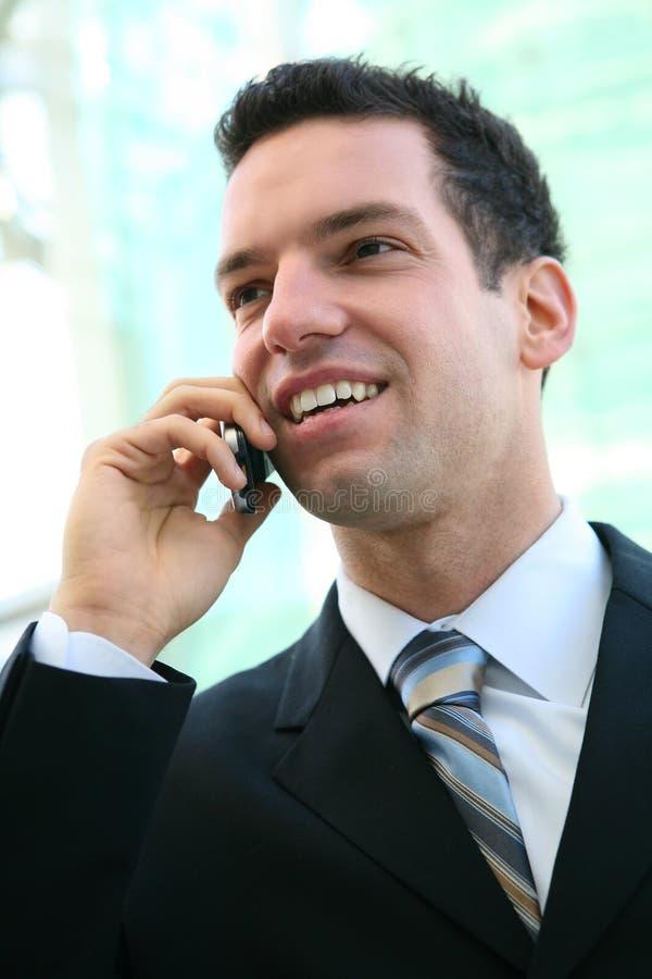 Homem de negócio no telefone imagens de stock
