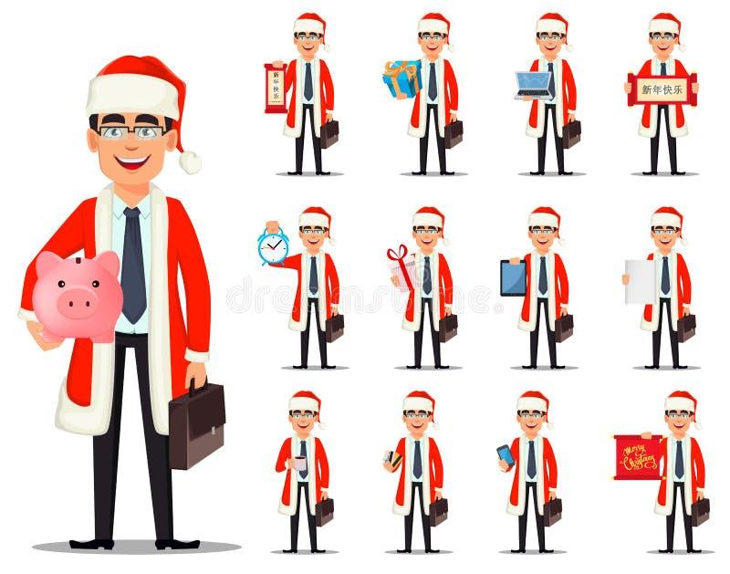 Homem de negócio no traje de Santa Claus ilustração do vetor