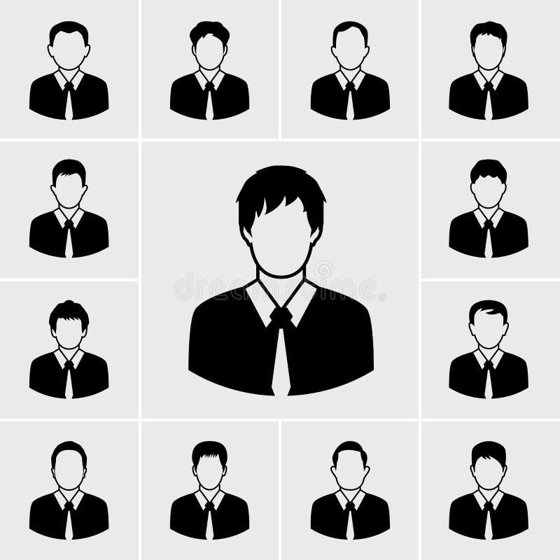 Homem de negócio nos ícones pretos do terno ajustados ilustração stock