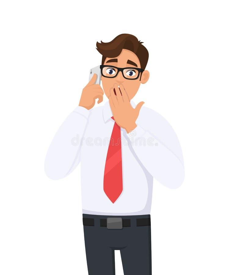 Homem de negócio novo chocado no discurso formal, falando no móbil, pilha, telefone esperto A pessoa masculina assustado está cob ilustração do vetor