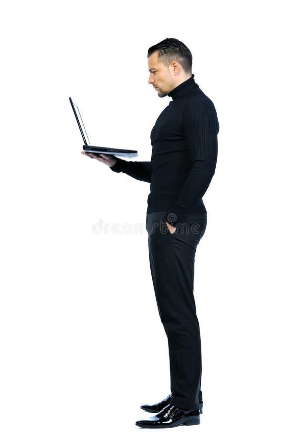 Homem de negócio novo isolado com caderno fotos de stock royalty free