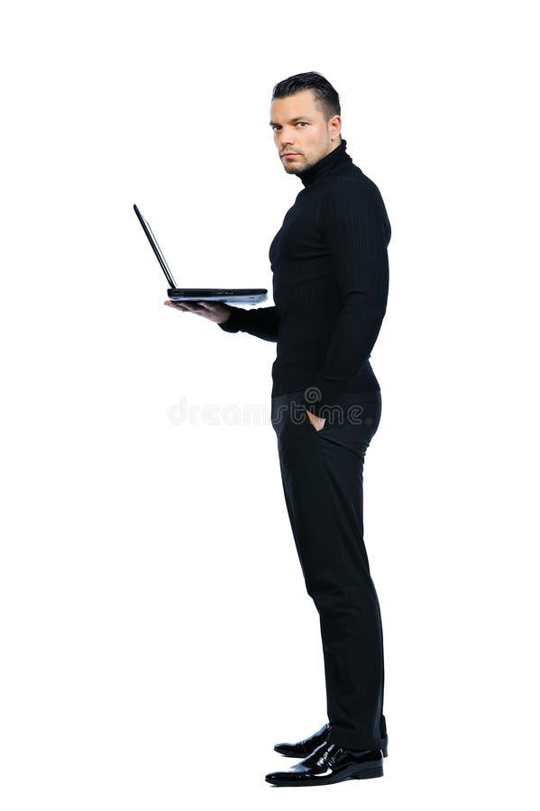 Homem de negócio com o caderno no fundo branco foto de stock royalty free