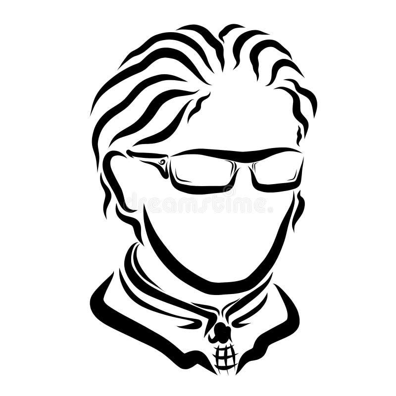 Homem de negócio novo com vidros e laço ilustração do vetor