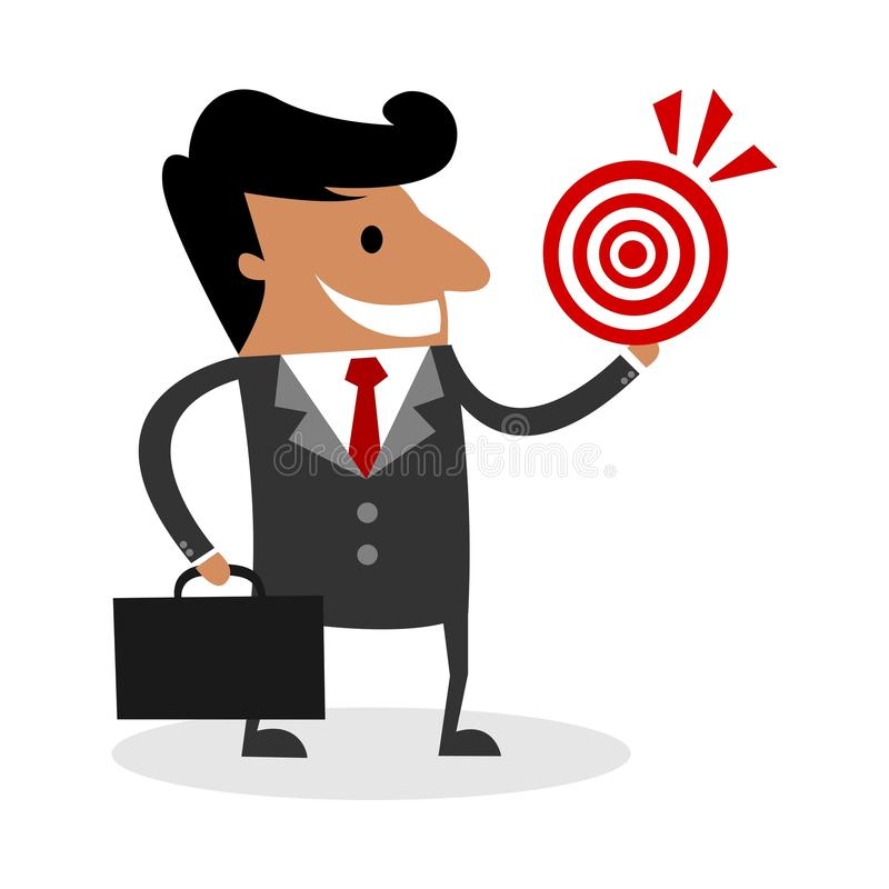 Homem de negócio novo internacional com um alvo ilustração do vetor
