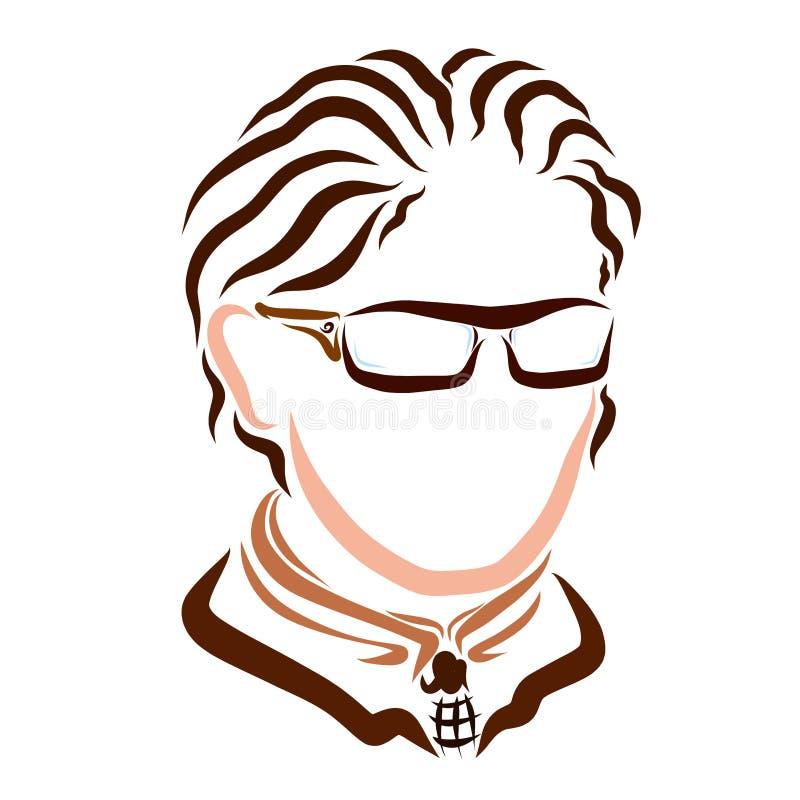 Homem de negócio novo nos vidros com cabelo ondulado ilustração do vetor