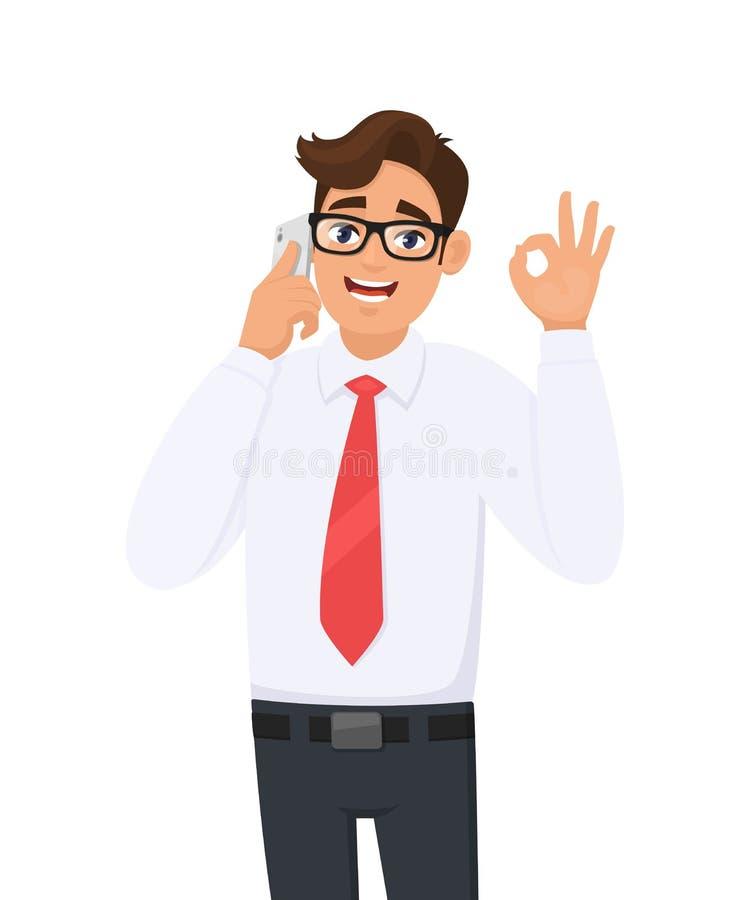 Homem de negócio novo que fala ou que fala no móbil, pilha, telefone esperto Exibição da pessoa masculina, gesticulando a aprovaç ilustração royalty free