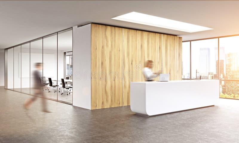 Homem de negócio obscuro que anda no interior do escritório com luz solar ilustração stock
