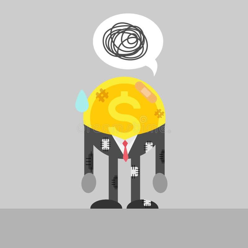 Homem de negócio pobre da moeda ferido ilustração stock