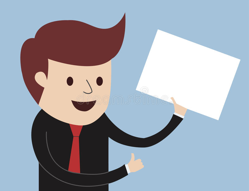 Homem de negócio - polegares acima com placa branca ilustração stock