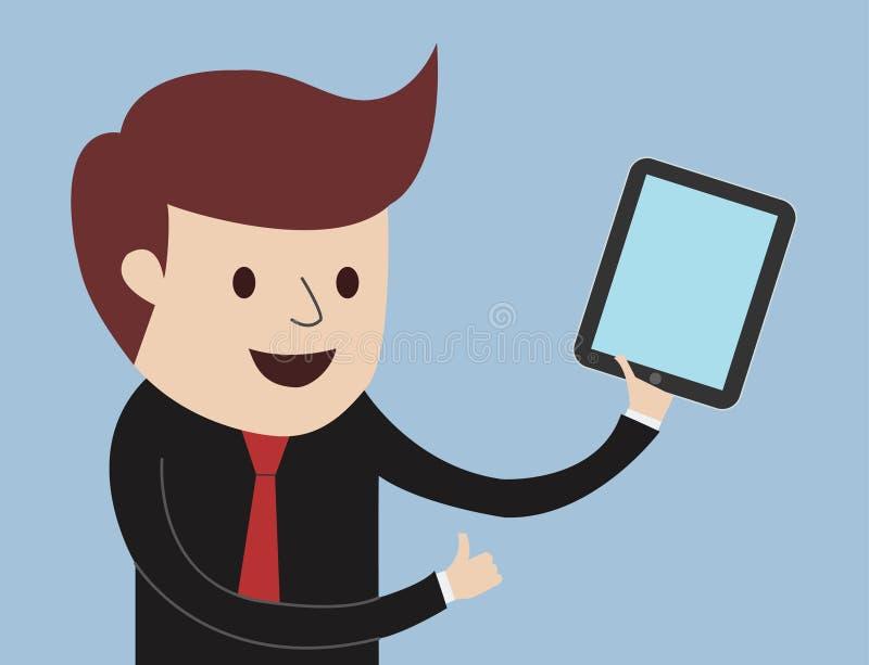 Homem de negócio - polegares acima com tabuleta ilustração do vetor