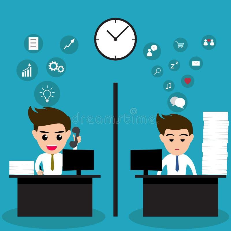 Homem de negócio preguiçoso e homem de negócio ativo no mesmo escritório ilustração royalty free