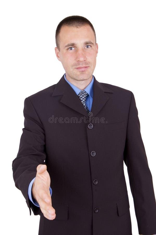 Homem de negócio pronto para agitar as mãos foto de stock royalty free