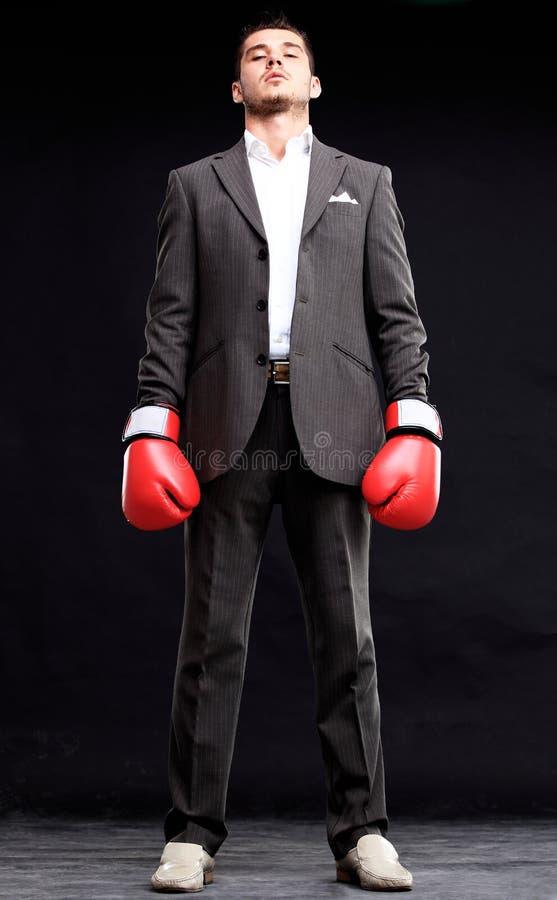 Homem de negócio pronto para lutar com as luvas de encaixotamento - isoladas imagem de stock