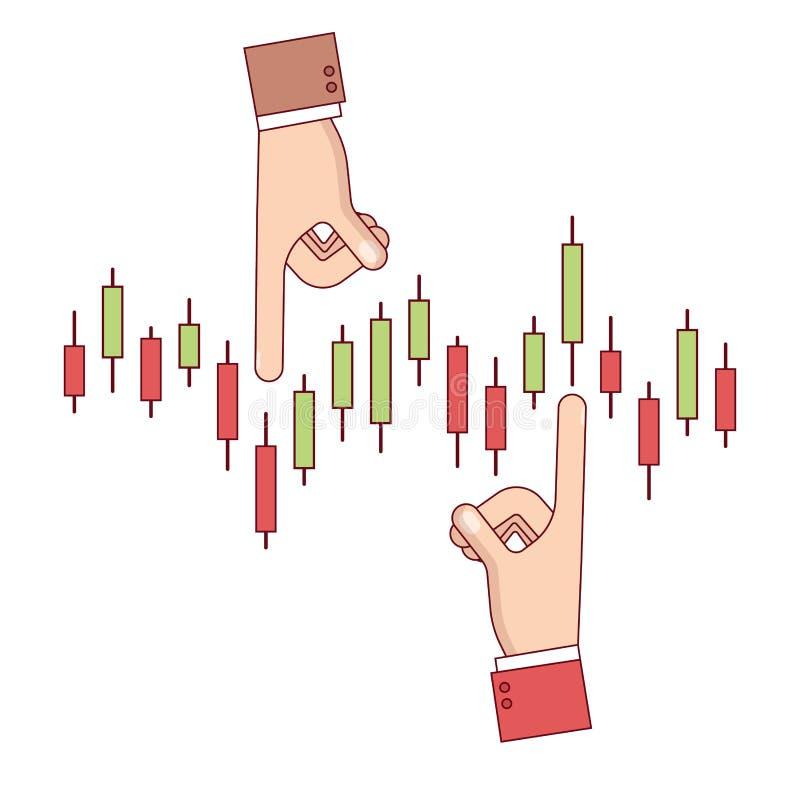 Homem de negócio que analisa a carta do castiçal do índice ilustração stock