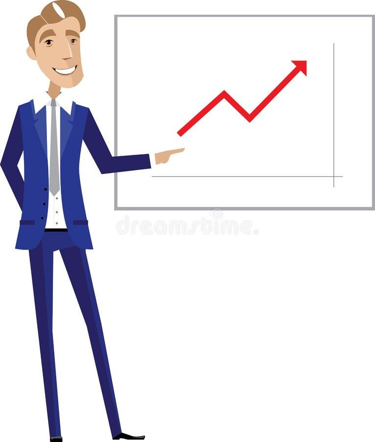 Homem de negócio que aponta na carta ilustração stock