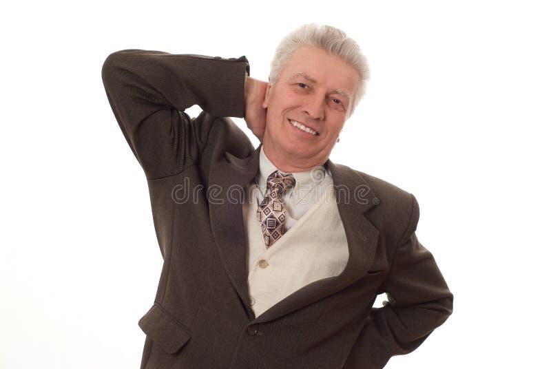 Homem de negócio que aponta para cima imagem de stock
